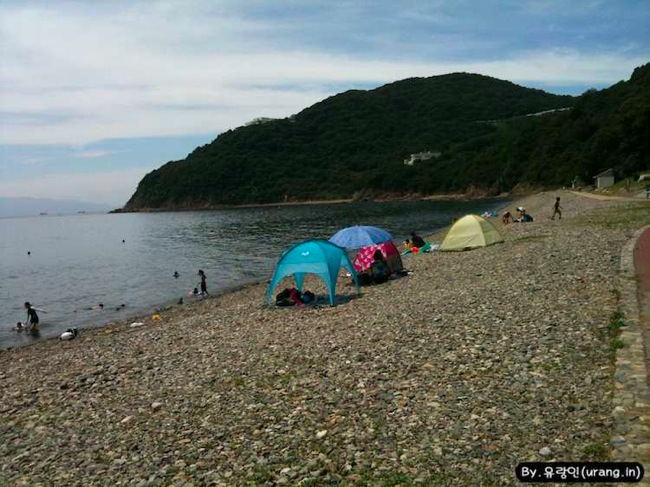 Japan camping ground on the beach