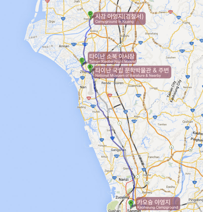 Bicycle journey route Kaohsiung tainan xigang