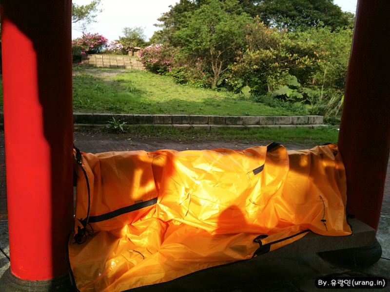 Drying my tent in Jiufen taiwan
