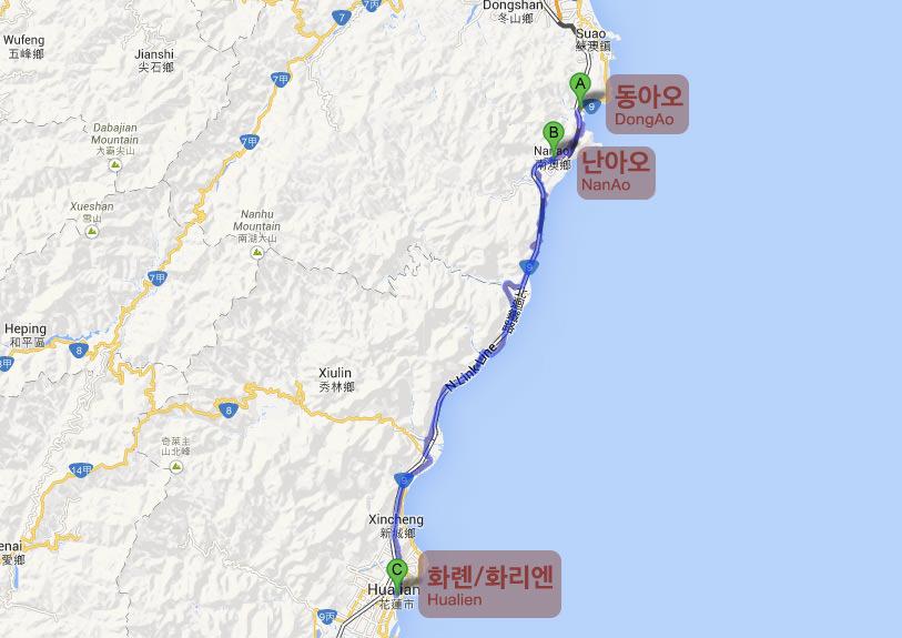 Route Dongao Nanao Hualien
