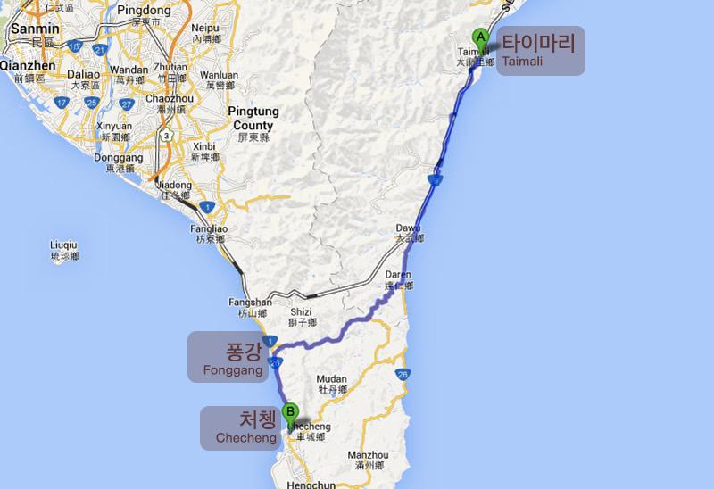 Taiwan Bicycle Journey Route Taimali Fonggang Checheng