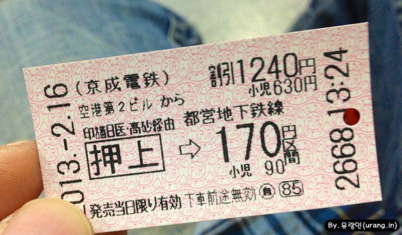 Narita to Tokyo tensya kippu