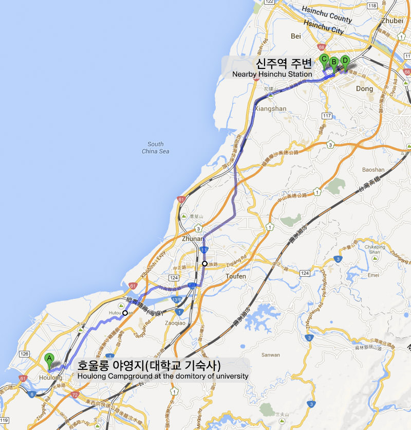 Taiwan bicycle journey Houlong Hsinchu