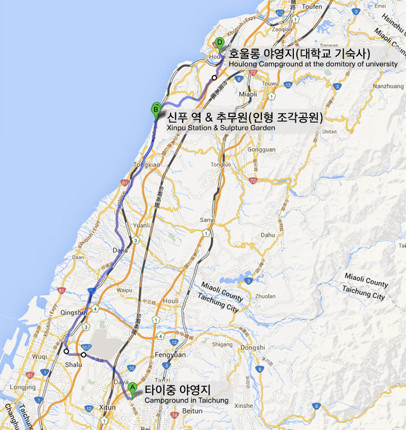 Taiwan bicycle journey Taichung Houlong