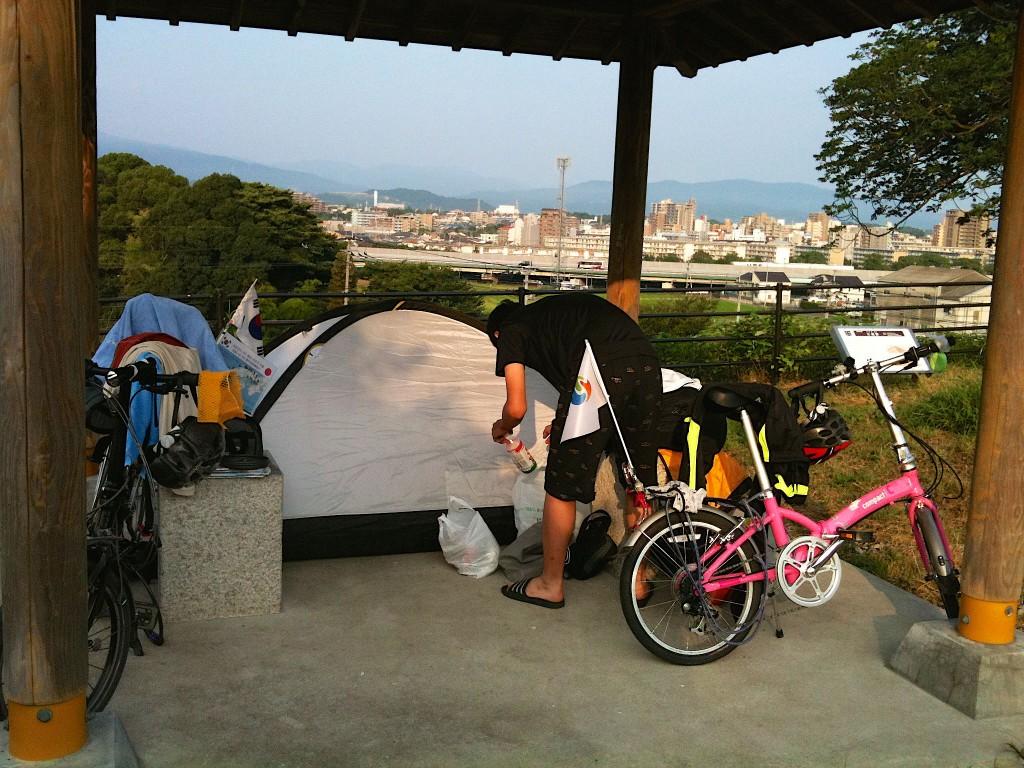 다자이후에서 첫 캠핑